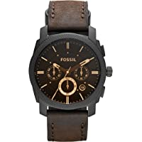 FOSSIL Machine Mid-Size Chronograph Brown Leather Stainless Steel Watch – Analogue Men's Watch with Quartz Movements – Stopwatch and Timer Functionality