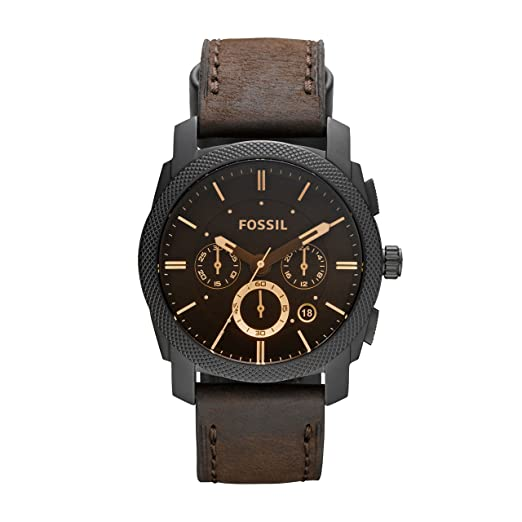 887677cb4 FOSSIL Machine Mid-Size Chronograph Brown Leather Stainless Steel Watch -  Analogue Men's Watch with
