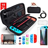 BuFan 15 en 1 Funda para Nintendo Switch, Nadole kit de accesorios con 2 Protector de Pantalla Vidrio/ Carcasa Transparente/ Joy-Con Pulgar Grips/ Cable USB/ Ranuras