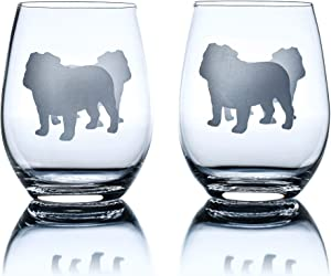 Bulldog Wine Glasses (Set of 2) | Unique for Dog Lovers | Hand Etched with Breed Name on Bottom