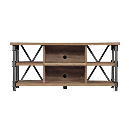 Bailys Wooden Tv Stand In Black Metal Legs With Open Storage Shelves For 60 In Size Tv 24 H X 54 W X 157 D