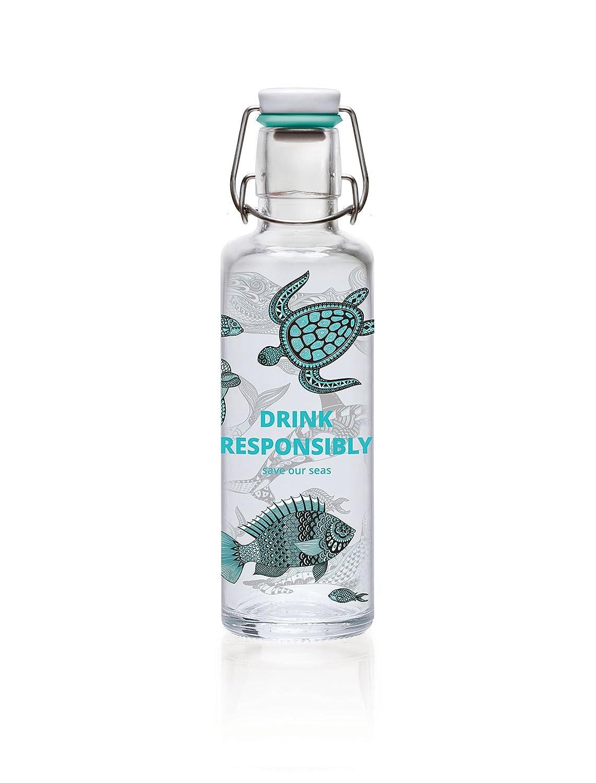 Soulbottles 0,6l Trinkflasche aus Glas Verschiedene Designs, Made in Germany, Vegan, plastikfrei, Glastrinkflasche, Glasflasche (1 Schluck Sommer) soulproducts GmbH
