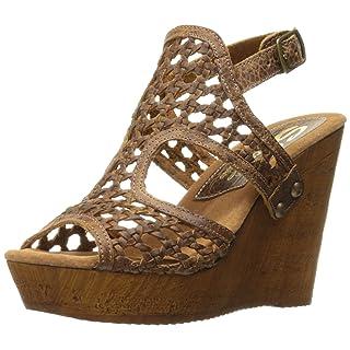 Sbicca Women's Macos Wedge Sandal, Brown, 8 B US