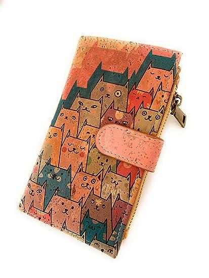 Cartera de Mujer con Monedero, Billetera de Mujer con Cremallera, Original de Corcho ecológico Portugués de diseño. Bloqueo de lectores RFID no ...