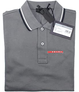 978cfe799 Prada Men's Cotton Piqué Short Sleeve Slim Fit Polo Shirt, Charcoal Grey  SJJ887
