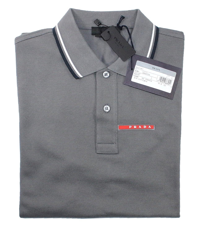 0ca37fe54 Prada Men's Cotton Piqué Short Sleeve Slim Fit Polo Shirt, Charcoal Grey  SJJ887