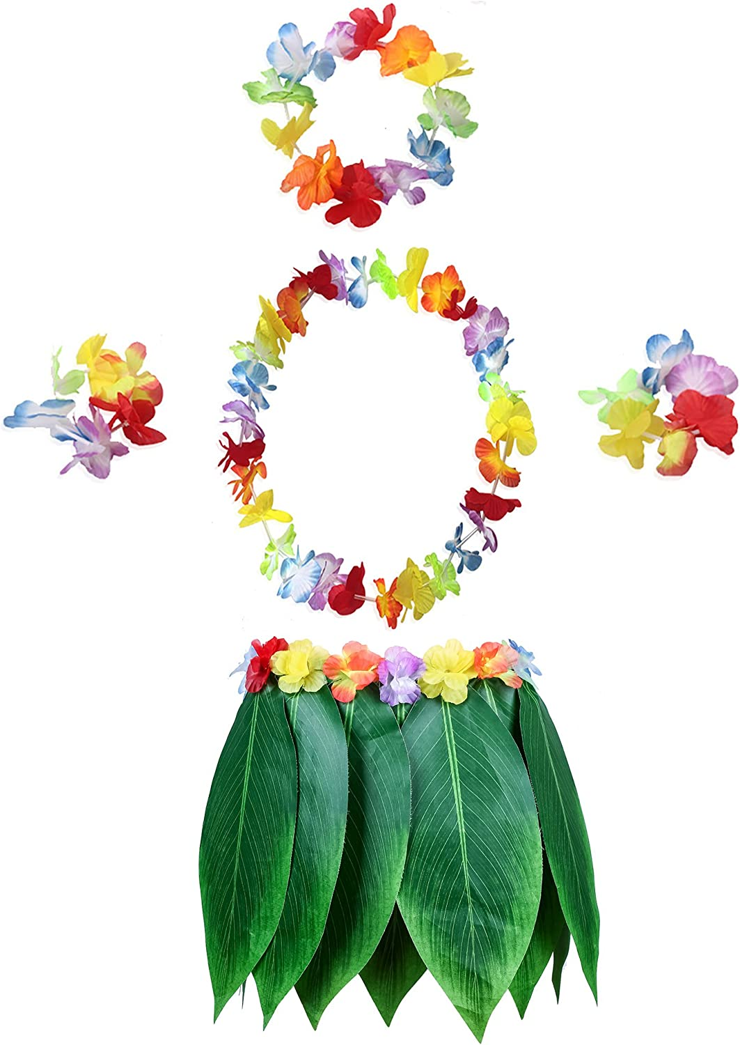 KEFAN Leaf Hula Skirt y Hawaiian Leis Set Grass Skirt con Flores de Hibisco Artificiales para Hula Costume y Beach Party (B)