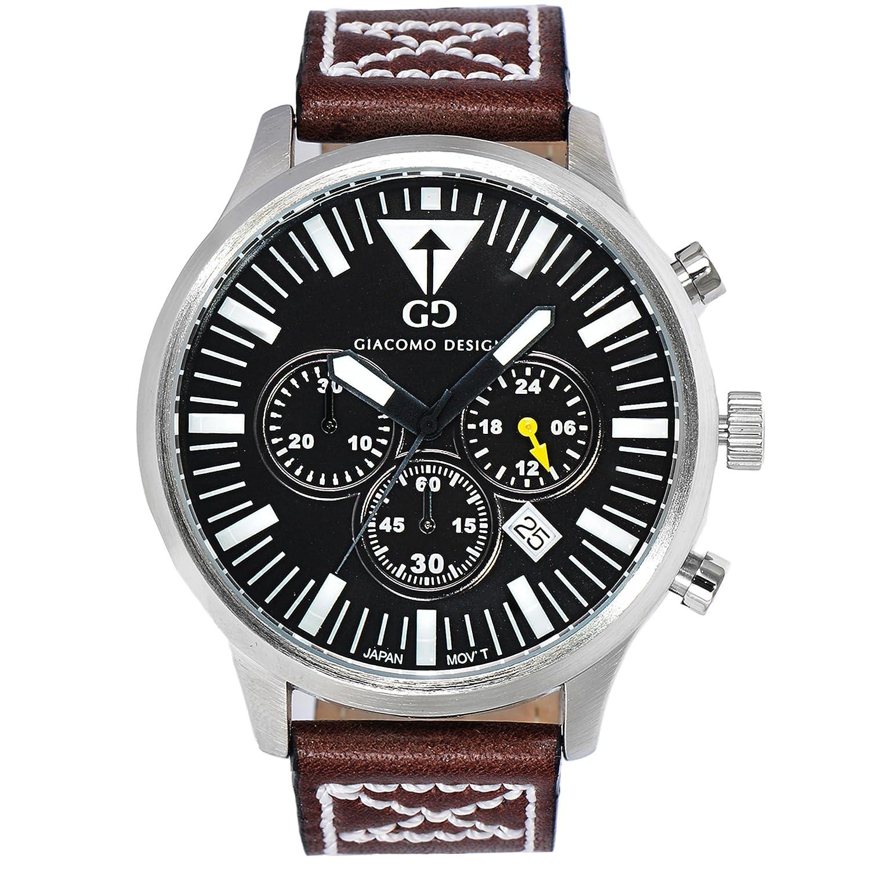 Giacomo Design GD03004 Herren-Armbanduhr Lederband Datum Chronograph