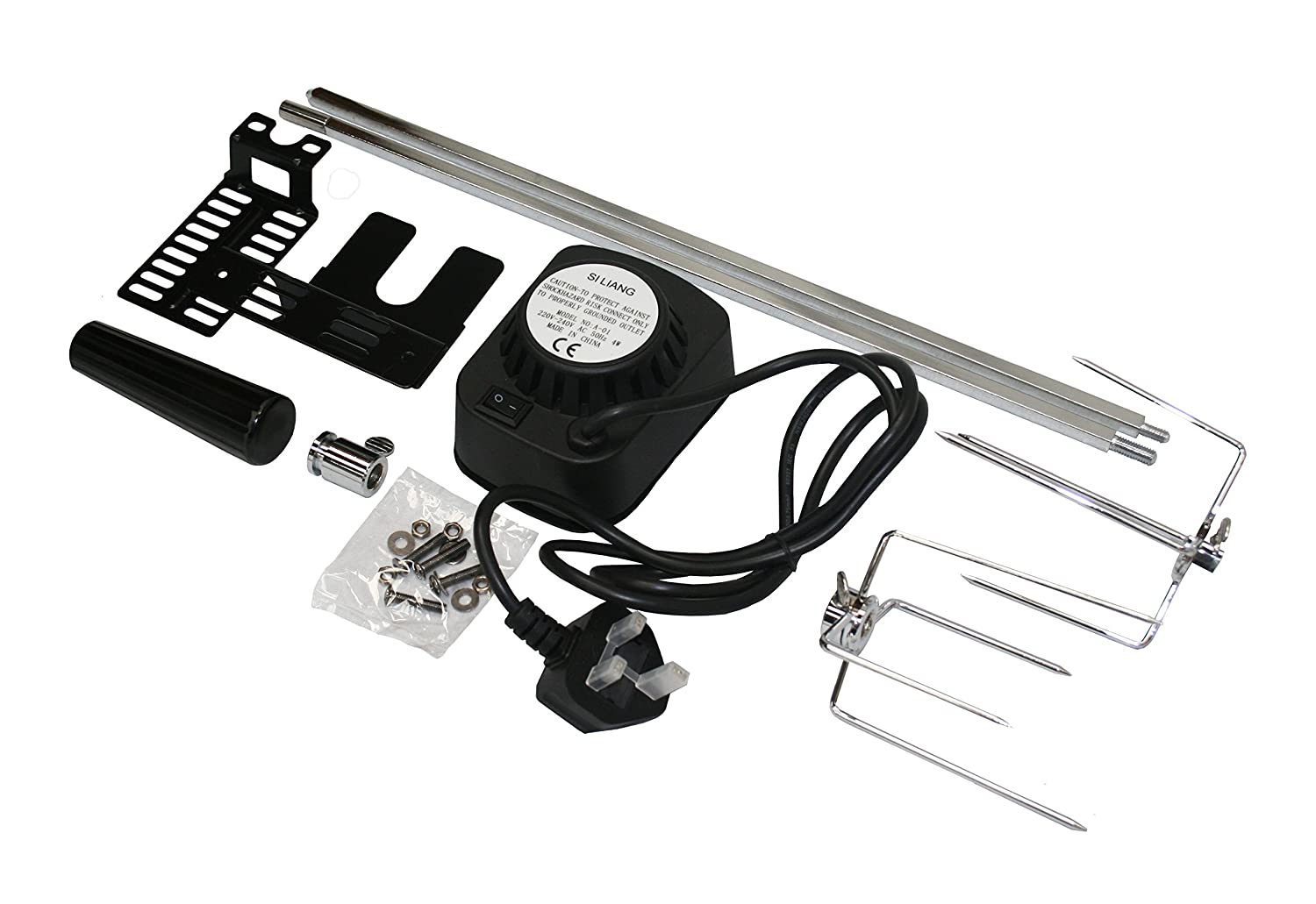 BBQ BARBECUE ROTISSERIE SPIT UNIVERSAL KIT GAS OR CHARCOAL ELECTRIC (36 Inch Skewer) (36 Inch Skewer) SunshineBBQs Ltd