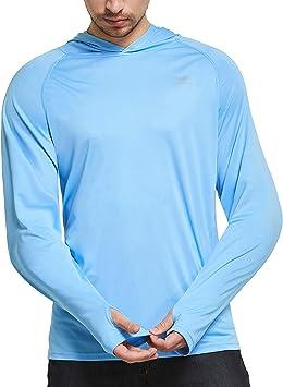Ogeenier Camisetas de Manga Larga Hombre con Capucha Protección Solar UV UPF 50+: Amazon.es: Deportes y aire libre