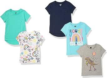Spotted Zebra Camisetas de Manga Corte clásico Niñas, Pack de 5