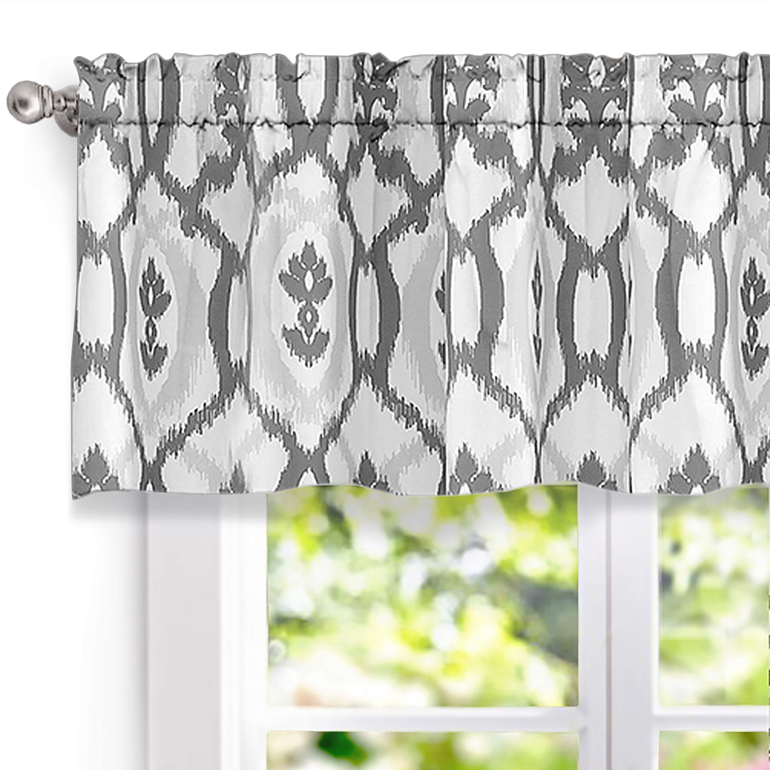 DriftAway Evelyn Ikat Fleur/Floral Pattern Window Curtain Valance, 52''x18'' (Gray)