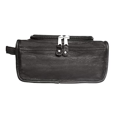 Canyon Outback Deer Creek Leather Toiletry Bag, Black, One Size