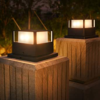 Solpex Solar Post Lights, Fence Post Lights Solar Powered Fit 3.5X3.5,4X4,5X5,6X6 Wooden Garden Post, Outdoor Post Cap Lights with Warm White LED Lighting for Fence, Deck or Patio (2 Pack)