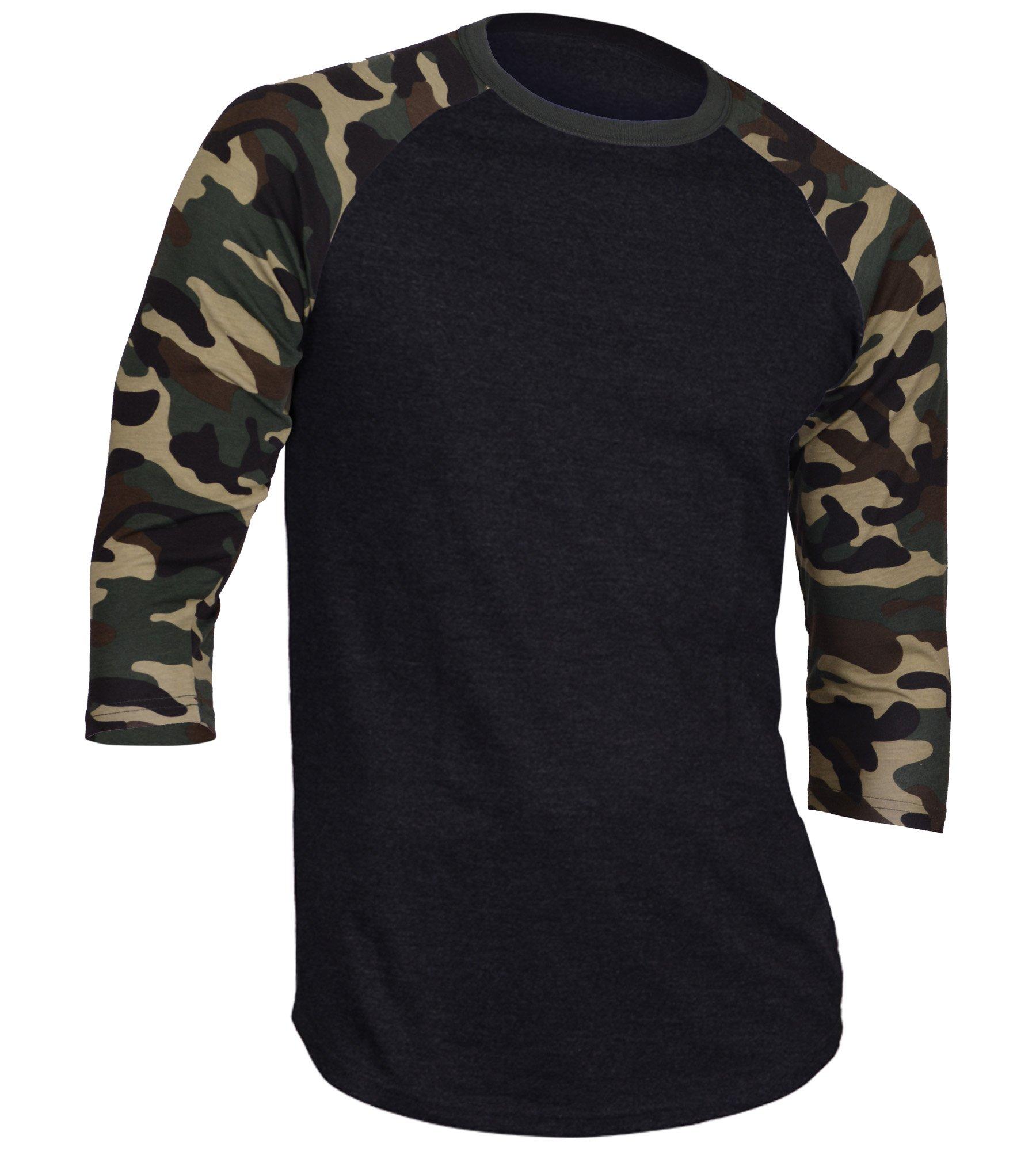 Dream USA Men's Casual 3/4 Sleeve Baseball Tshirt Raglan Jersey Shirt Black/Dk Camo 3XL