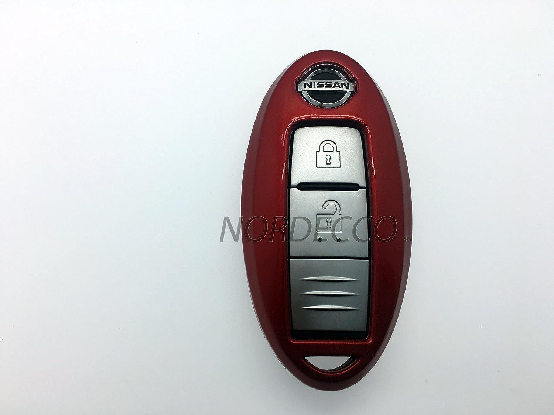 Carcasa para mando de llave de coche dura y brillante para mando con 2 o 3 botones y sin llave para Nissan color rojo