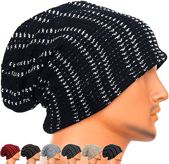 REDSHARKS Unisex Adult Winter Warm Slouch Beanie Long Baggy Skull Cap  Stretchy Knit Hat Oversized Black 4c3a3517673
