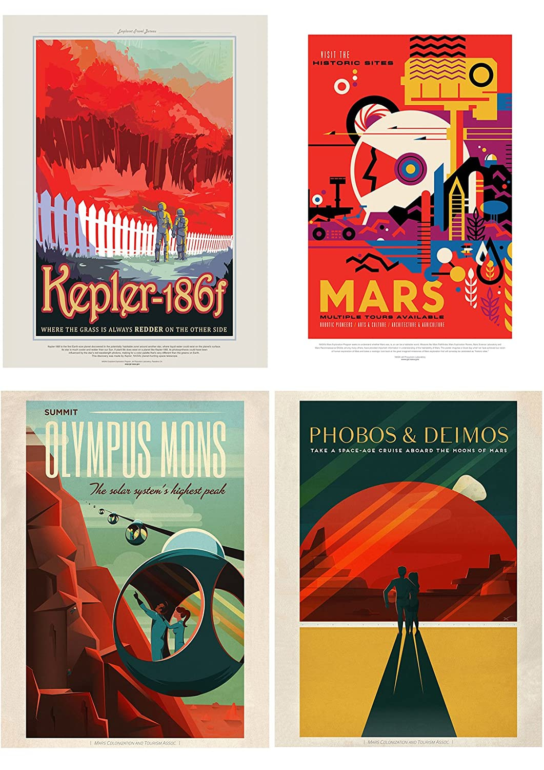 NASA POSTER SPACE GRAND TOUR TRAVEL ADVERT PACK x 8  POSTERS ART PRINTS HP3844