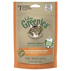 FELINE GREENIES Dental Cat Treats Oven Roasted