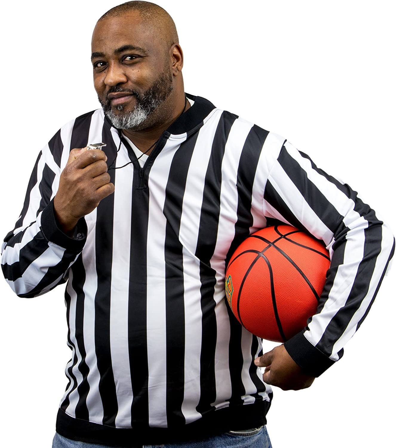 Crown Sporting Goods Men's Official Striped Referee Shirt/Umpire Long Sleeve Jersey Uniform: Sports & Outdoors