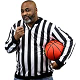 Men's Official Striped Referee Shirt/Umpire Long Sleeve Jersey Uniform by Crown Sporting Goods
