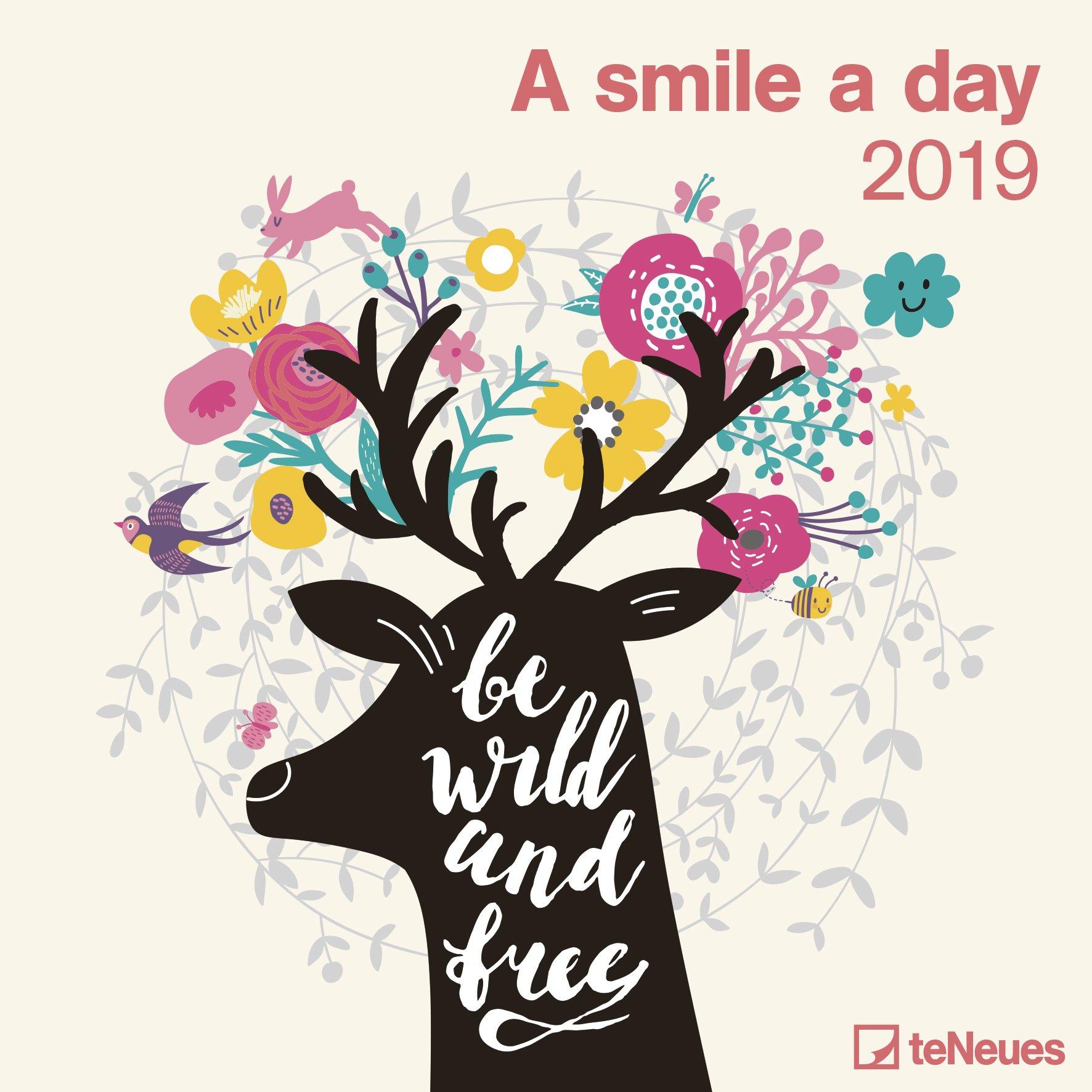 2019 A Smile a Day Calendar - 30 x 30 cm (Allemand) Calendrier – Poster Calendar, 15 juillet 2018 B077ZH9977 Address Books Geschenkbücher Kalender / Zitate