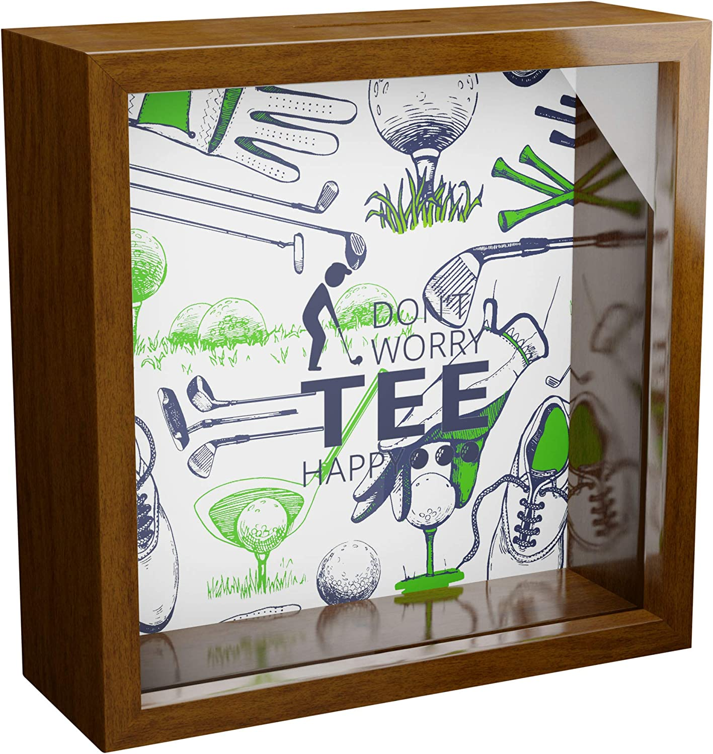 iframes Golf Gifts for Men | 6x6x2 Wooden Shadow Box | Golfing Themed Keepsake with Glass Front | Ideal Gift for Golfer | Special Golfers Present for Dad or Grandpa | Great for Office or Home Decor