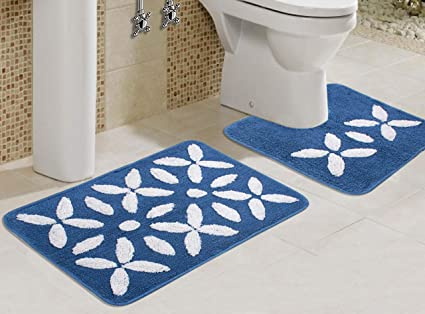 Saral Home Soft Cotton Bathmat Set with Contour (Blue, 60x40cm) - Pack of 2