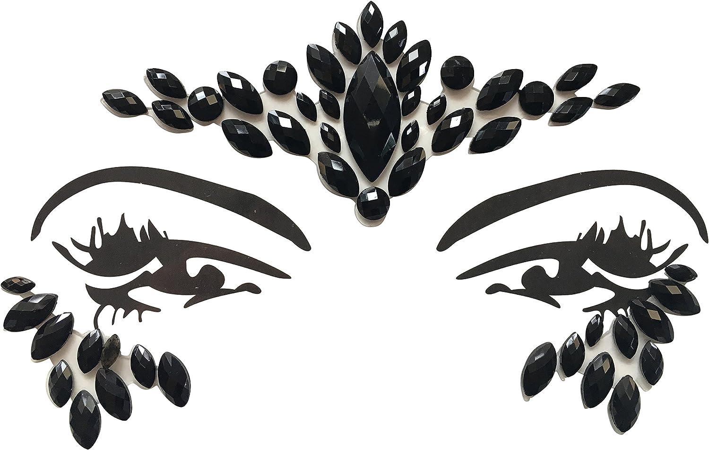 Cara Ojos Deko piedras preciosas Pegatinas Glitter De Maquillaje Para Fiesta Festival shows y Etapa Ceremonia 1809Negro