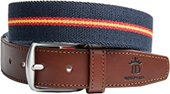 RAU Cinturon de hombre bandera de españa elastico y terminaciones en piel.(ES AJUSTABLE VALE DESDE LA TALLA 90 A LA 120) (AZUL): Amazon.es: Ropa y accesorios