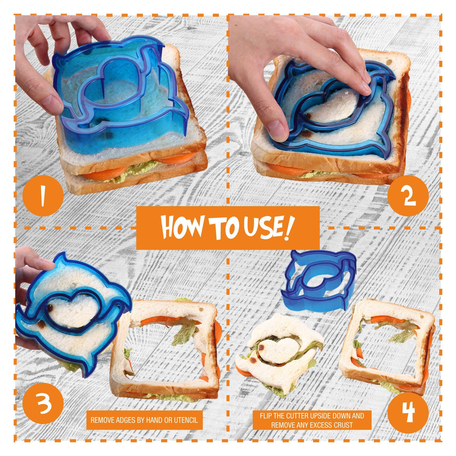 Sandwich Cutters for Kids | Funbite Food Cutter for Kids | Exciting and Innovative | Kids Friendly | 26 pieces set | Variant Sandwich Cutters | Vegetable and Cheese Stamps | Animal Shaped Food Picks | by Gordon's Sandwich Cutter (Image #3)