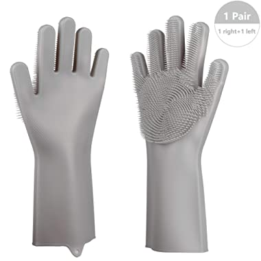Magic Silicone Gloves with scrubbers for washing dishes and vegetables, kitchen household cleaning, heat resistant cooking tool, washing car, pet bath with rubber brushes - Pair Packed (Grey)