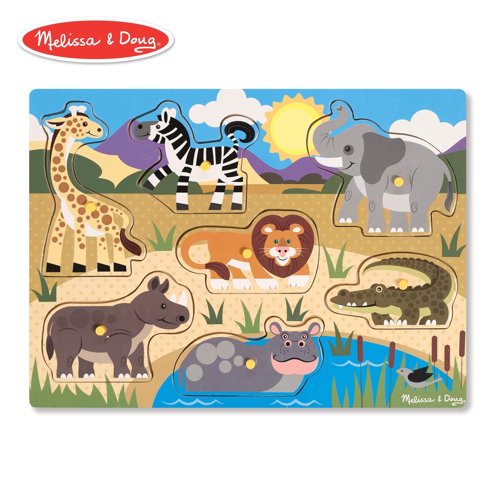 Melissa & Doug Safari Peg Puzzle (Colorful Animal Artwork, Extra-Thick Wooden Construction, 7 Pieces) product image