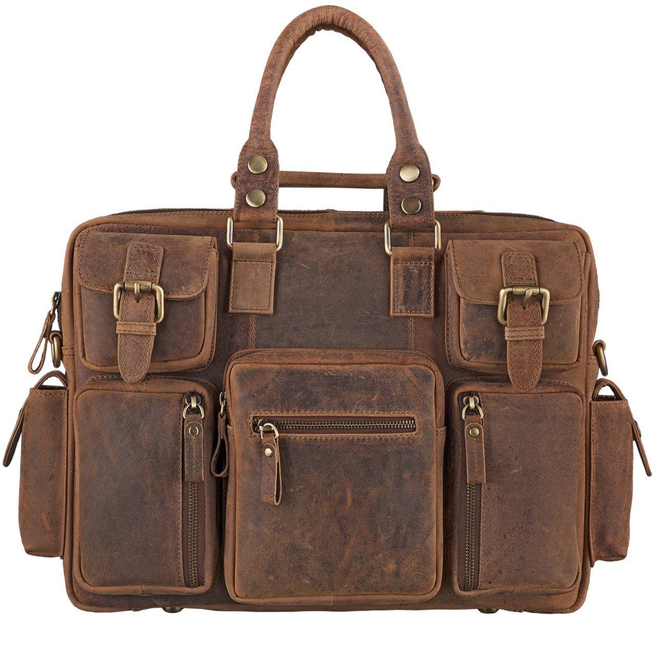 STILORD große Vintage Lehrertasche College Bag Büro 15.6 Zoll Laptoptasche Umhängetasche Aktentasche XL Herren Damen Leder