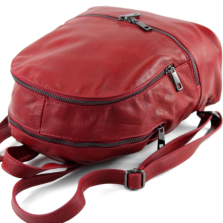 modamoda de – T137 – ital dam ryggsäck av läder Mörkröd