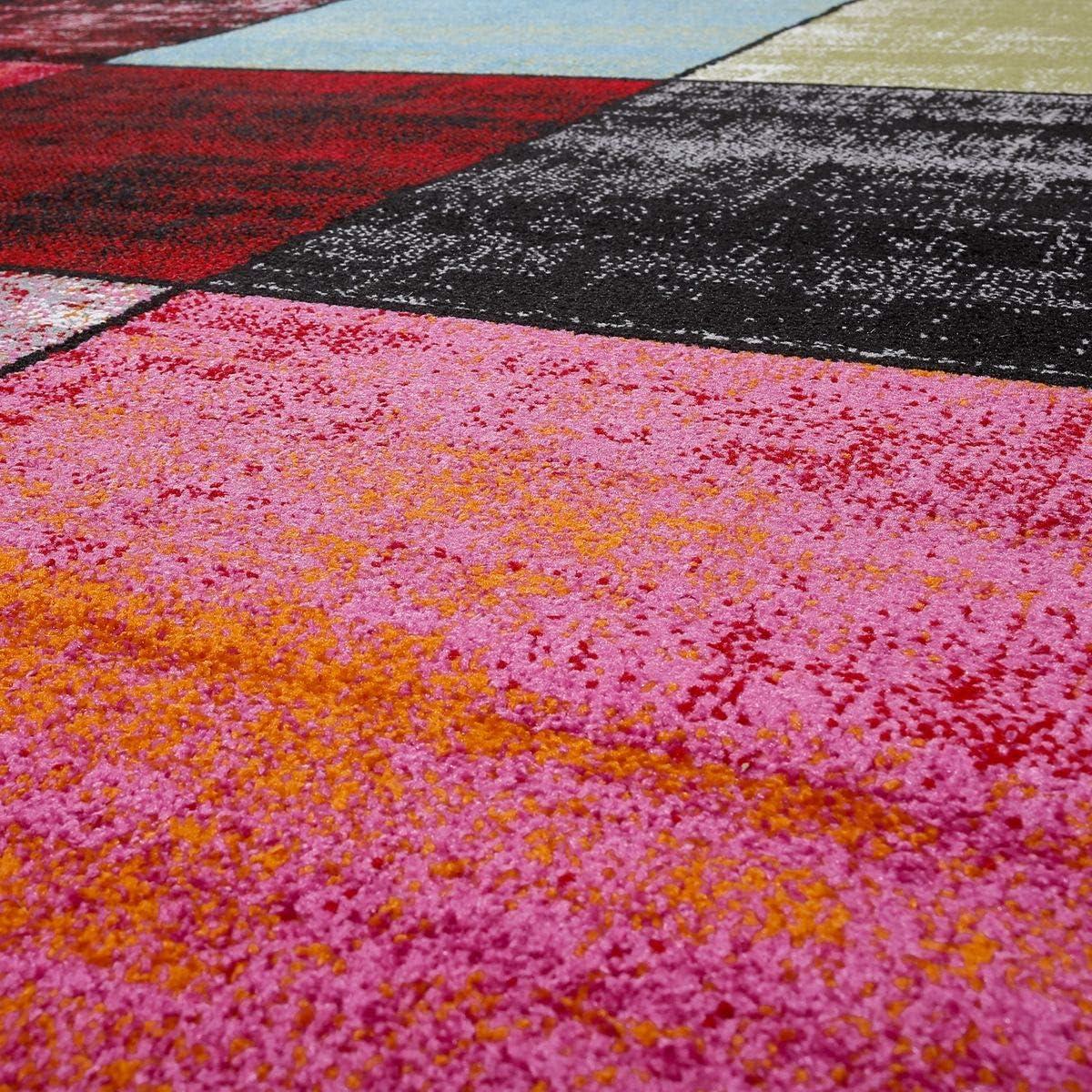 T/&T Design Teppich Karo Rot Schwarz Grau Gr/ün Pink Meliert Modern Wohnzimmer Kinderzimmer Gr/ö/ße:70x140 cm