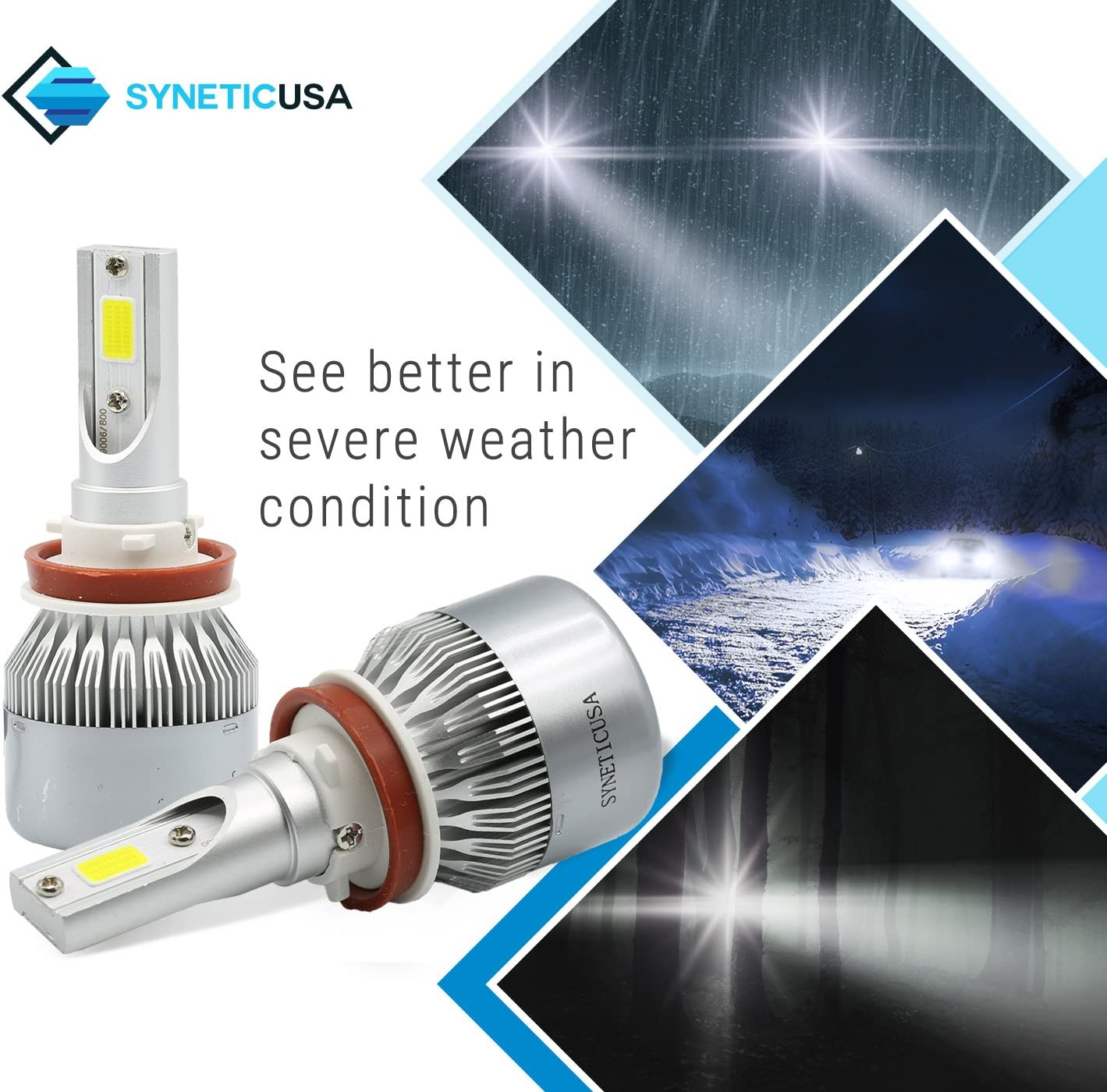 H11 Syneticusa LED High//Low Beam Headlight Conversion Kit Light Bulbs 100W 10000LM 6000K White