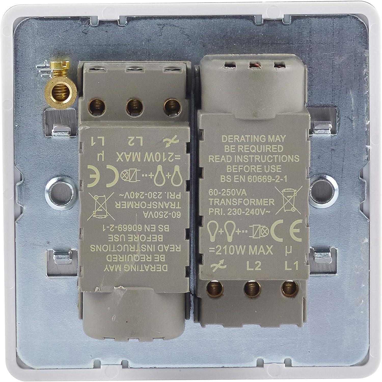 250 W//VA 2 Gang principal y LV color blanco Regulador de intensidad sin tornillos 2 v/ías Schneider Electric GU6422CPW