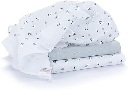 Muselina / Paño / Gasa algodón bebé - 3 Ud., 70x70 cm, estampado estrellas gris | Tejido doble con bordes reforzados, lavable a 60°C, certificado OEKO-TEX Standard 100: Amazon.es: Bebé