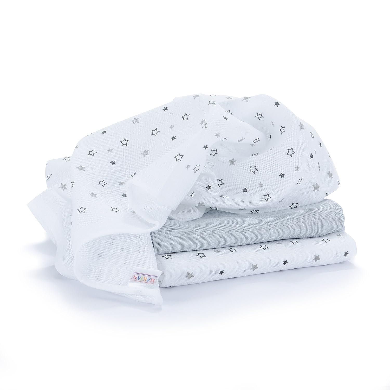 Muselina / Paño / Gasa algodón bebé - 3 Ud., 70x70 cm, estampado estrellas gris | Tejido doble con bordes reforzados, lavable a 60°C, certificado OEKO-TEX Standard 100 lavable a 60°C MAKIAN