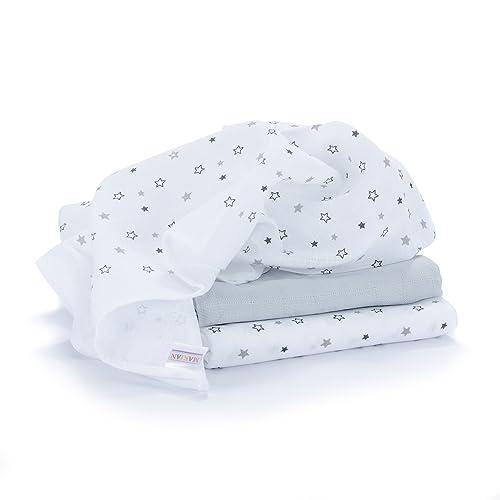 Lange bébé en mousseline de coton   Lot de 3   70 x 70 cm   Qualité supérieure - Motif étoile, double tissage, bordure renforcée, certifié Öko-Tex Standard 100, lavable à 60° C
