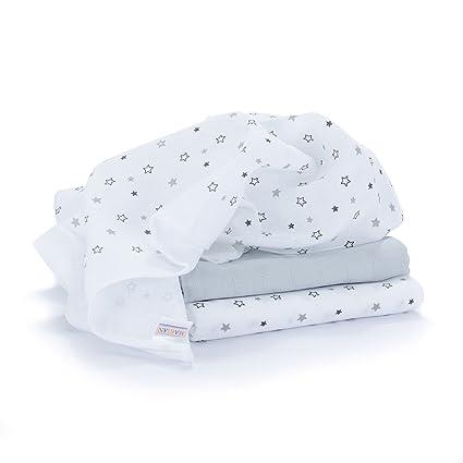 Muselina / Paño / Gasa algodón bebé - 3 Ud., 70x70 cm, estampado