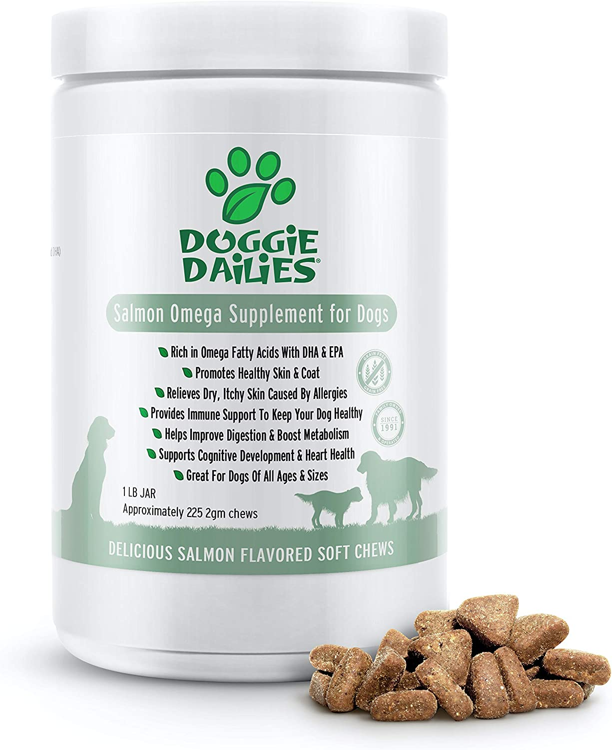 Doggie Dailies Omega 3 for Dogs, 225 Soft Chews, Salmon Oil for Dogs with Apple Cider Vinegar, Bee Pollen, Kelp, Zinc & Biotin - for Healthy Skin & Coat, Immune System & Seasonal Allergy Support