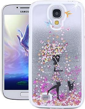 Funda para Samsung Galaxy S4 de Emaxelers, serie Quicksand; líquida, diseño único de Cherry Blossom, patrón