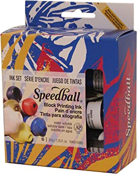 Speedball Fabric Block Printing Ink Classroom Set Set of 8