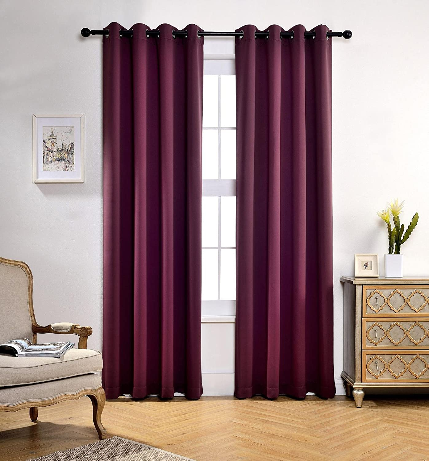 Blackout Window Curtain Panels with 2 Tie Backs, Aubergine