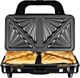 Tower T27013 Deep Fill Sandwich Maker, Easy Clean, Ceramic Stone Coated, 900 W, Silver/Black
