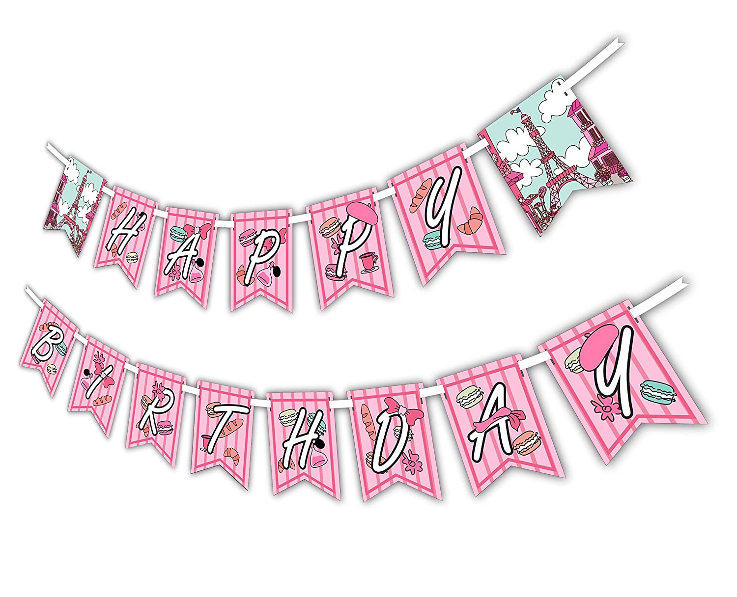 Includes 23ft Ribbon Pink Paris Happy Birthday Party Banner Decoration