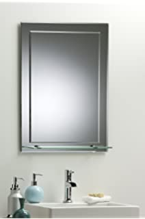 Bathroom Mirror On Elegant Rectangular With Shelf Wall Mounted Plain Varied Sizes