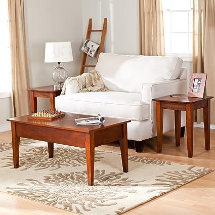 amazon com rich cherry wood finish 3 piece living room table set